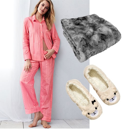 Night in outfit: Cute pink pajamas, a fuzzy blanket, and cute slippers