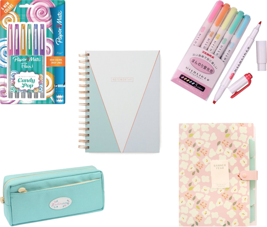 Cute school supplies for college: Colored pens, midliners, light blue pencil case, printed file folder, printed notebook