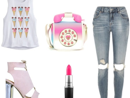 Outfit inspired by Cutester - ice cream top, phone purse, pink booties, ripped jeans