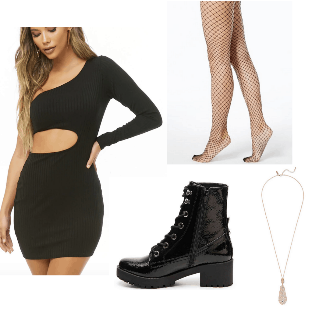 black cut-out dress with fish nets, combat boots, and gold necklace