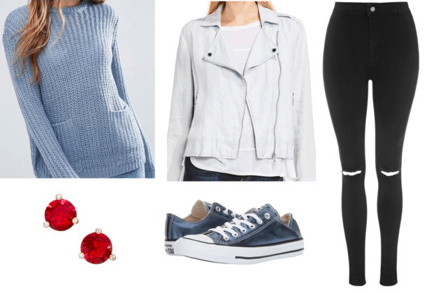 blue sweater gray motorcycle jacket black ripped jeans metallic blue converses red earrings teen titans casual cosplay teen titans cyborg outfit