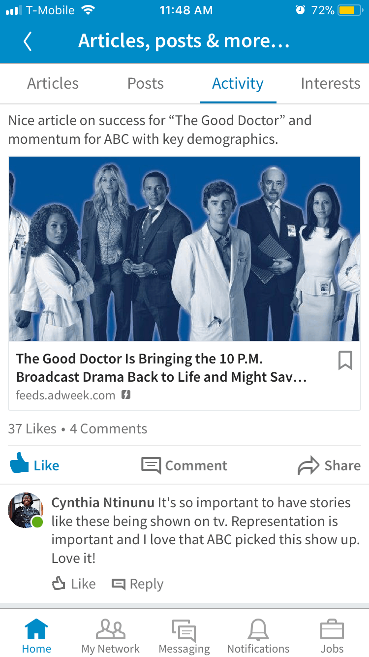 Cynthia comments on a post about the Good Doctor