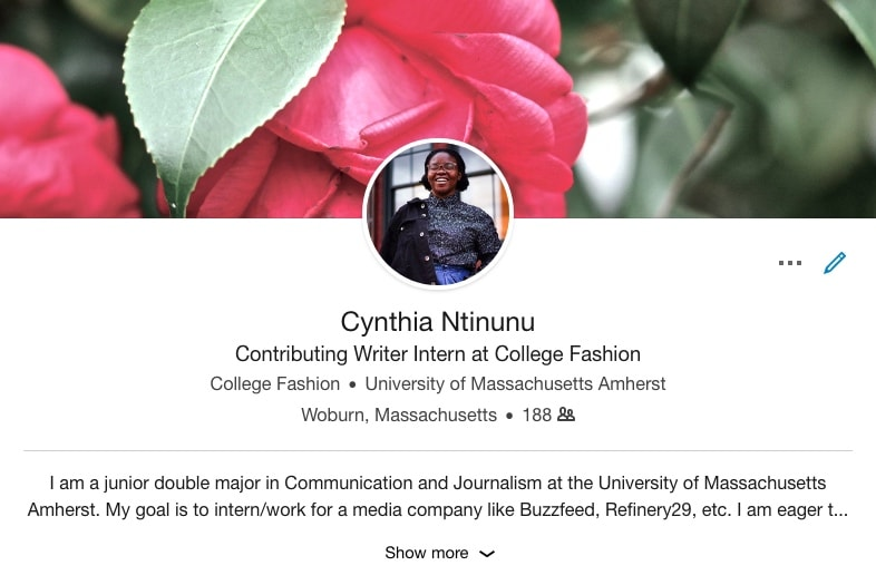 Cynthia's profile page