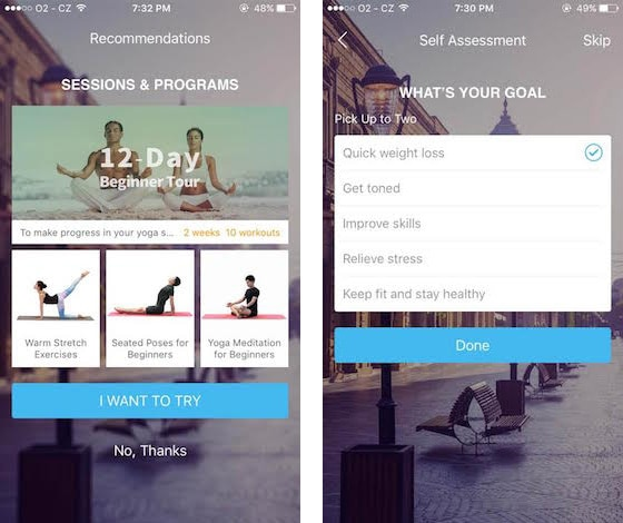 Daily yoga app screenshots