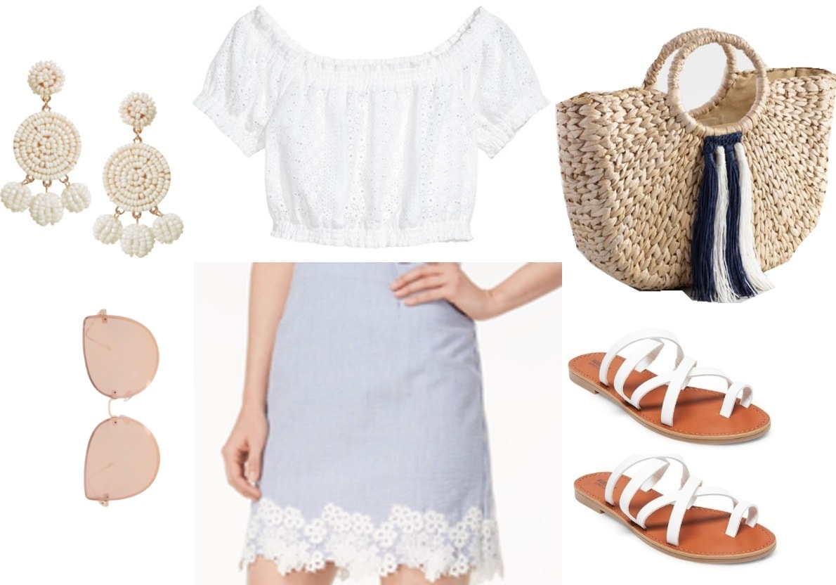 Dainty and classic embroidered skirt outfit with light blue seersucker embroidered skirt, white strappy sandals, beaded tassel earrings, wicker bag, rose colored sunglasses