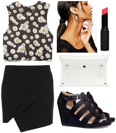 Daisy print tank, black skirt, wedges
