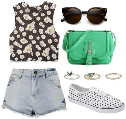 Daisy print tank, shorts, polka dot sneakers