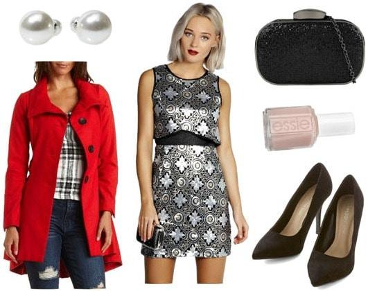 Daisy sequin dress red coat black heels look