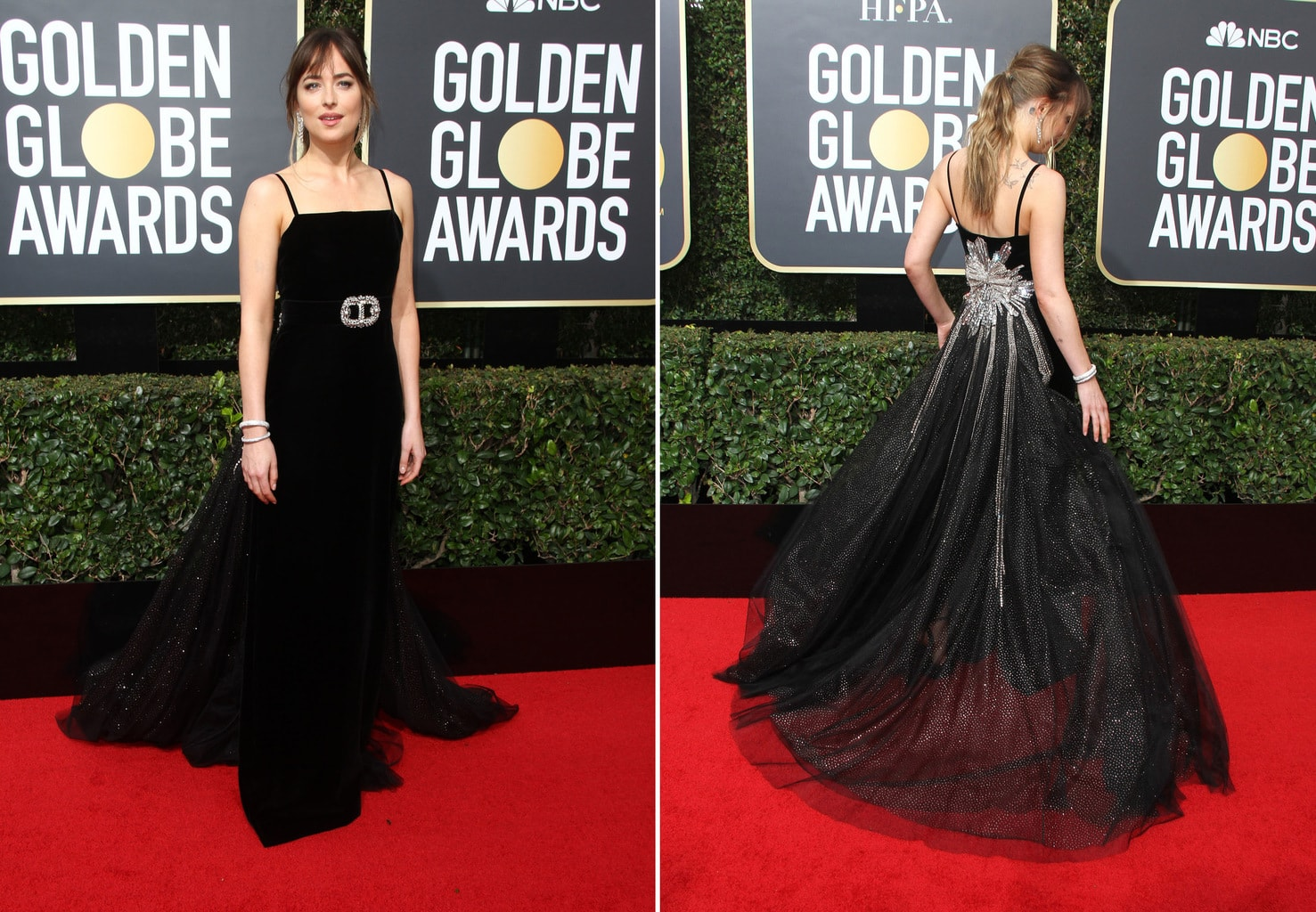 Dakota Johnson in a black Gucci gown with embellished back at the 2018 Golden Globe Awards red carpet