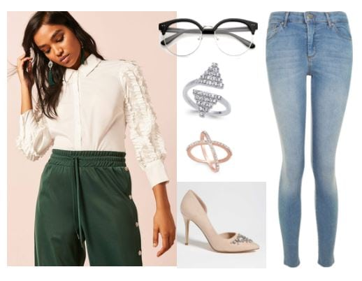 Styling for the young hip professional: Outfit with light wash skinny jeans, embellished sleeve blouse, rhinestone studded nude heels, statement rings, plastic frame glasses