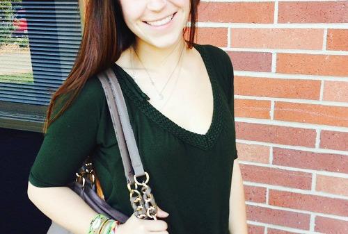 Dark green braided top at sonoma state university