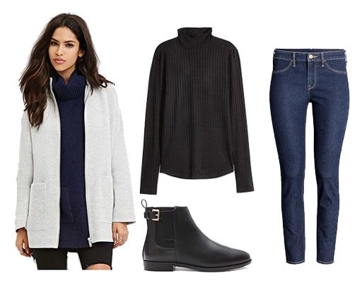 Winter to spring transition outfit with coat