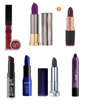 How to look edgy: Dark lipstick. Seven lipsticks in different colors, including red, purple, blue, and green