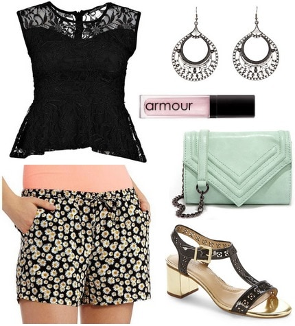 daisy shorts and peplum top