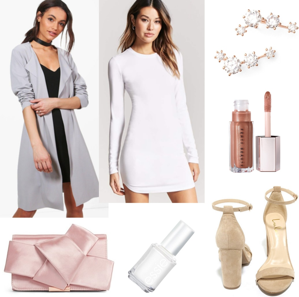 Date night outfit idea with white body-con dress, gray draped trench, nude heels, pink clutch, rose gold earrings, white nail polish, and Fenty beauty lip gloss