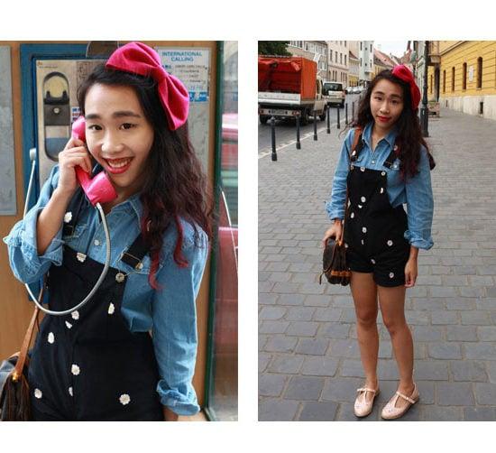 chambray shirt and polka dot short overalls