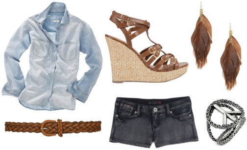 Dazed and Confused outfit 3: Denim shirt and denim shorts, cork wedges