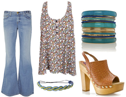 Dazed and Confused outfit 2: Bellbottoms, loose floral tank, wooden platforms