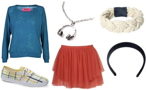 Dazed and Confused outfit 1: Red skirt, blue sweater, plaid sneakers