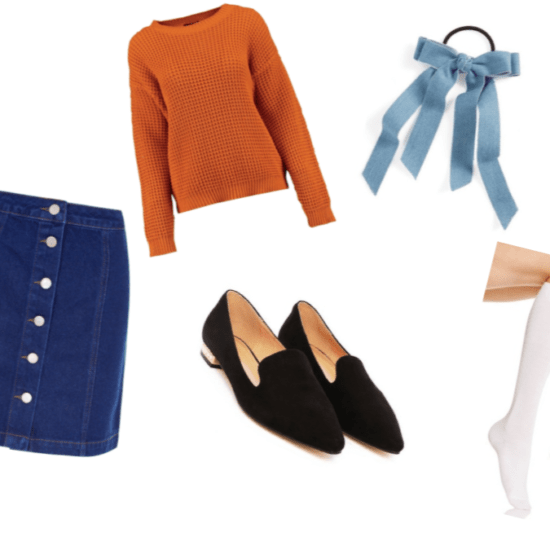 Doki Doki Literature Club Monica Outfit Inspiration: White Knee Socks, Denim Bow Elastic Hair Tie, Black Loafers, Blue Denim A-Line Skirt and Deep Orange Oversized Sweater