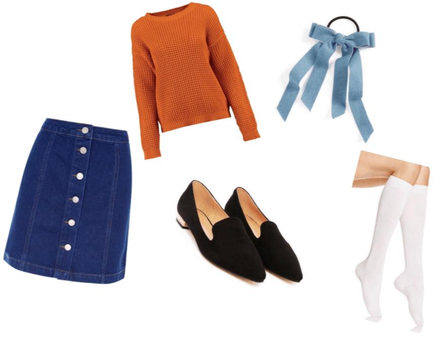 Doki Doki Literature Club Monica Outfit Inspiration: White Knee Socks, Denim Bow Elastic Hair Tie, Black Loafers, Blue Denim A-Line Skirt and Deep Orange Oversized Sweater