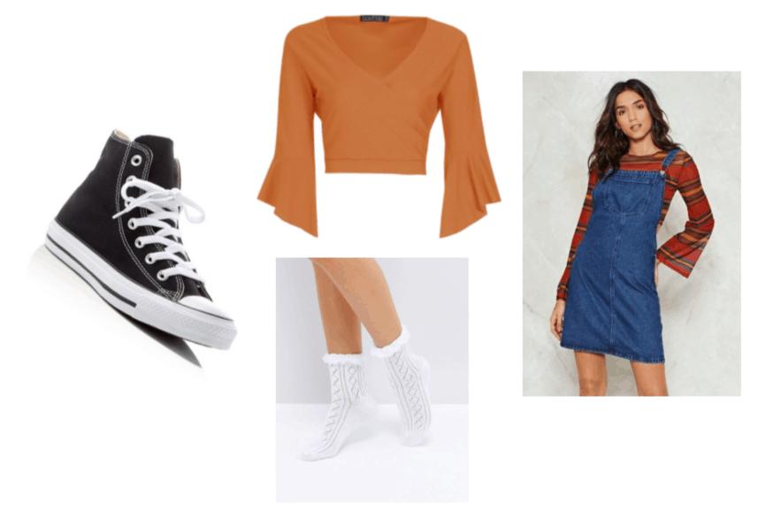Doki Doki Literature Club Natsuki Outfit Inspiration: White Frill Socks, High-Top Sneakers, Denim Overall Dress and Orange Ruffle Sleeve Wrap Top