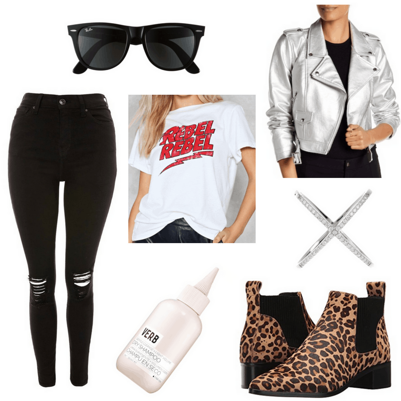 Debbie Harry style: Outfit inspired by Debbie Harry with ripped skinny jeans, leopard print chelsea boots, dry shampoo, Rebel Rebel graphic tee, metallic moto jacket, Wayfarer sunglasses