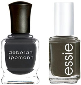 Deborah Lipmann Stormy Weather and Essie Power Clutch nail polish