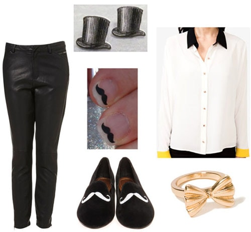 Outfit inspired by Degas Ballet Rehearsal on Stage - Tuxedo pants, button-down shirt, hat earrings, menswear-inspired flats