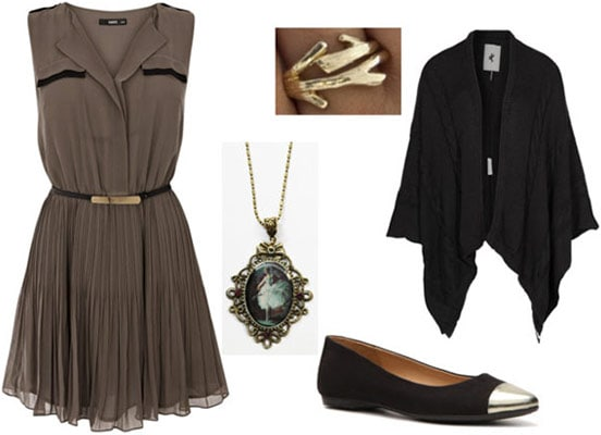 Outfit inspired by Degas Ballet Rehearsal on Stage - Neutral dress, flowing cardigan, metallic-tipped flats, accessories