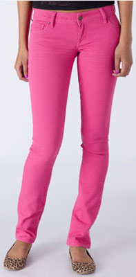 Hot pink skinny jeans from Delia's