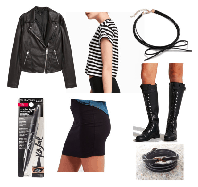 Atomic Blonde Fashion: Outfit inspired by Delphine with black mini skirt, black leather jacket, black and white striped tee, black knee-high lace up boots, black choker and kohl liner