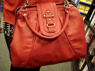 Red school bag - fashion at the University of Texas Arlington