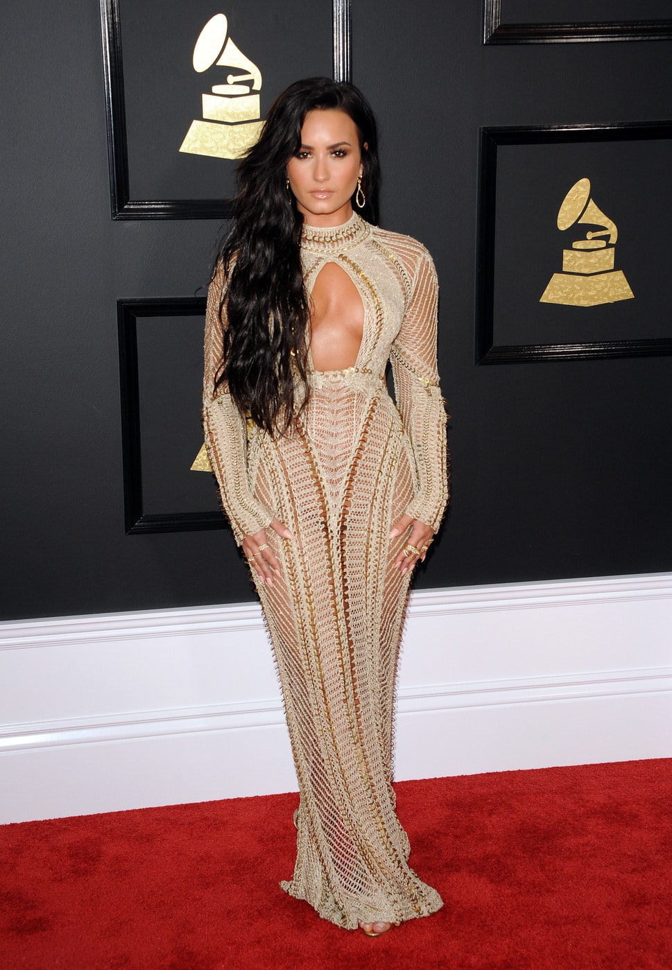 Demi Lovato in Julien Macdonald at the 2017 Grammy Awards