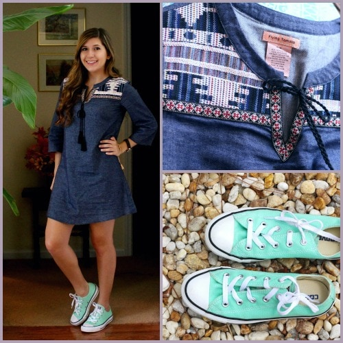 Denim dress and converse outfit