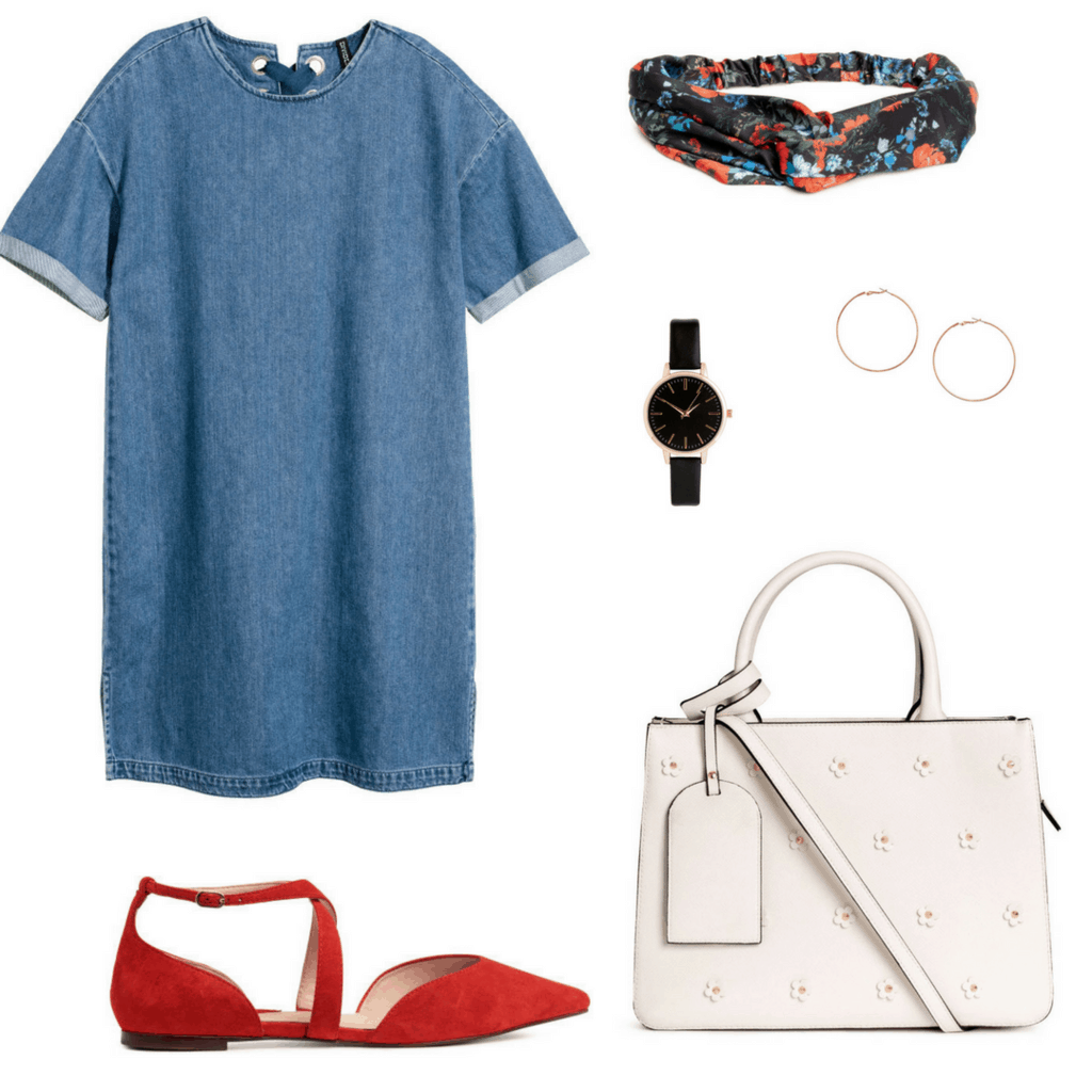 H&M denim dress outfit set