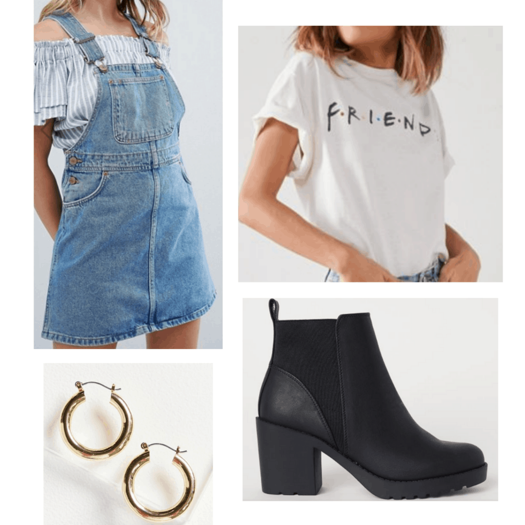 White Friends shirt with denim dress, gold hoop earrings, and chunky black boots