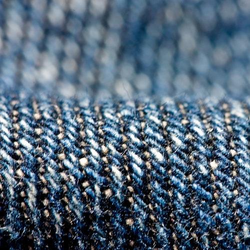 A close-up view of denim fabric