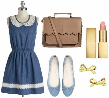 Denim fit and flare dress, ballet flats, scalloped purse