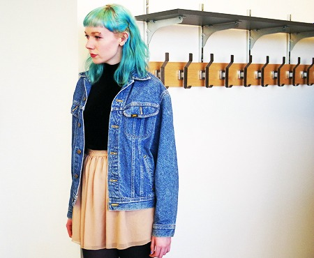 Denim jacket and chiffon skirt outfit