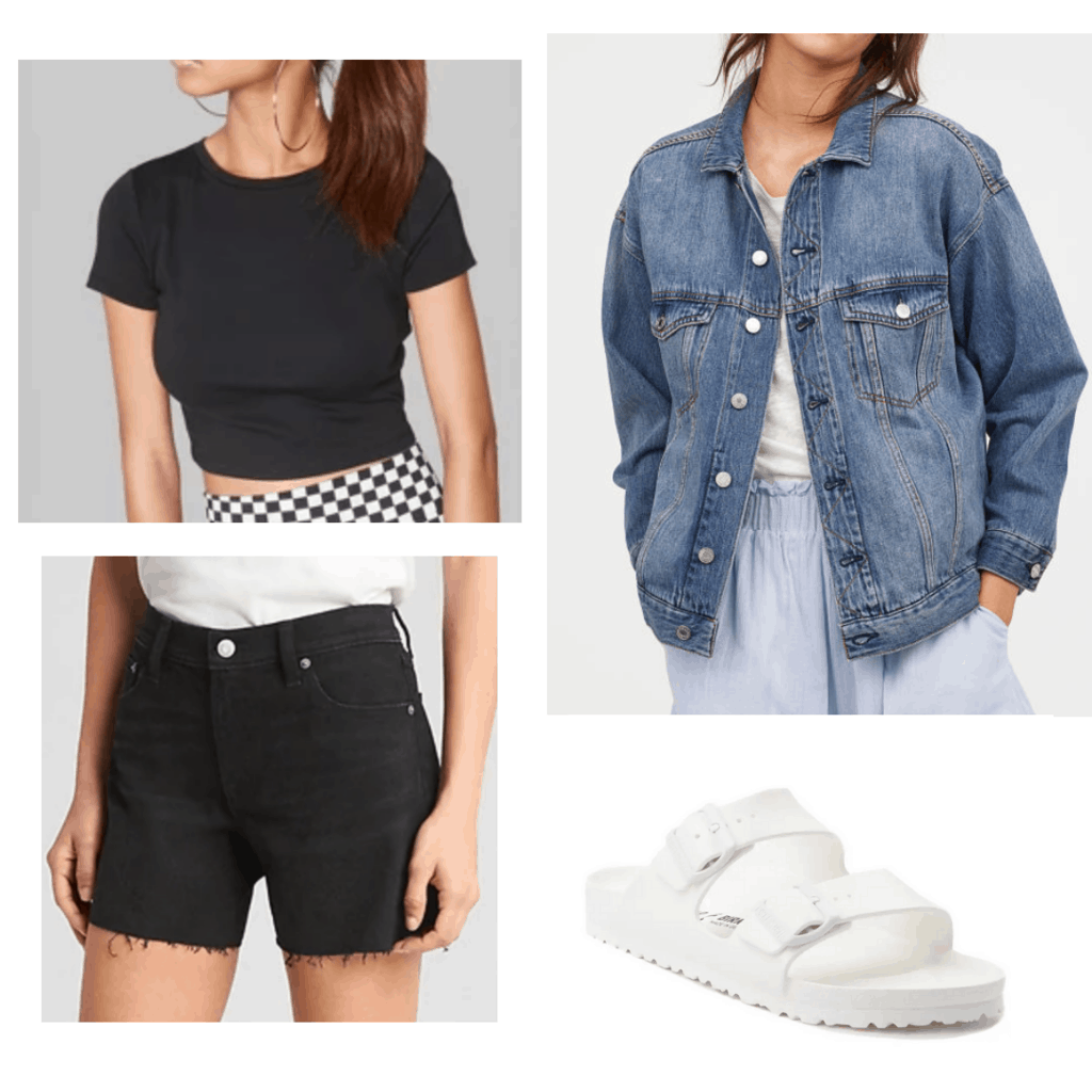 Baggy denim jacket with black crop top, black distressed shorts, and white birkenstock sandals