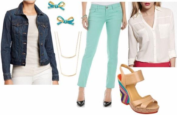 Denim jacket, colored skinnies, sandals