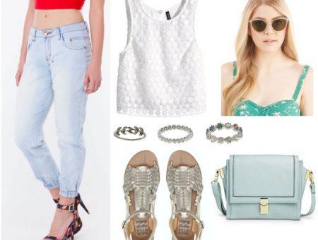 denim joggers, white blouse, metallic sandals