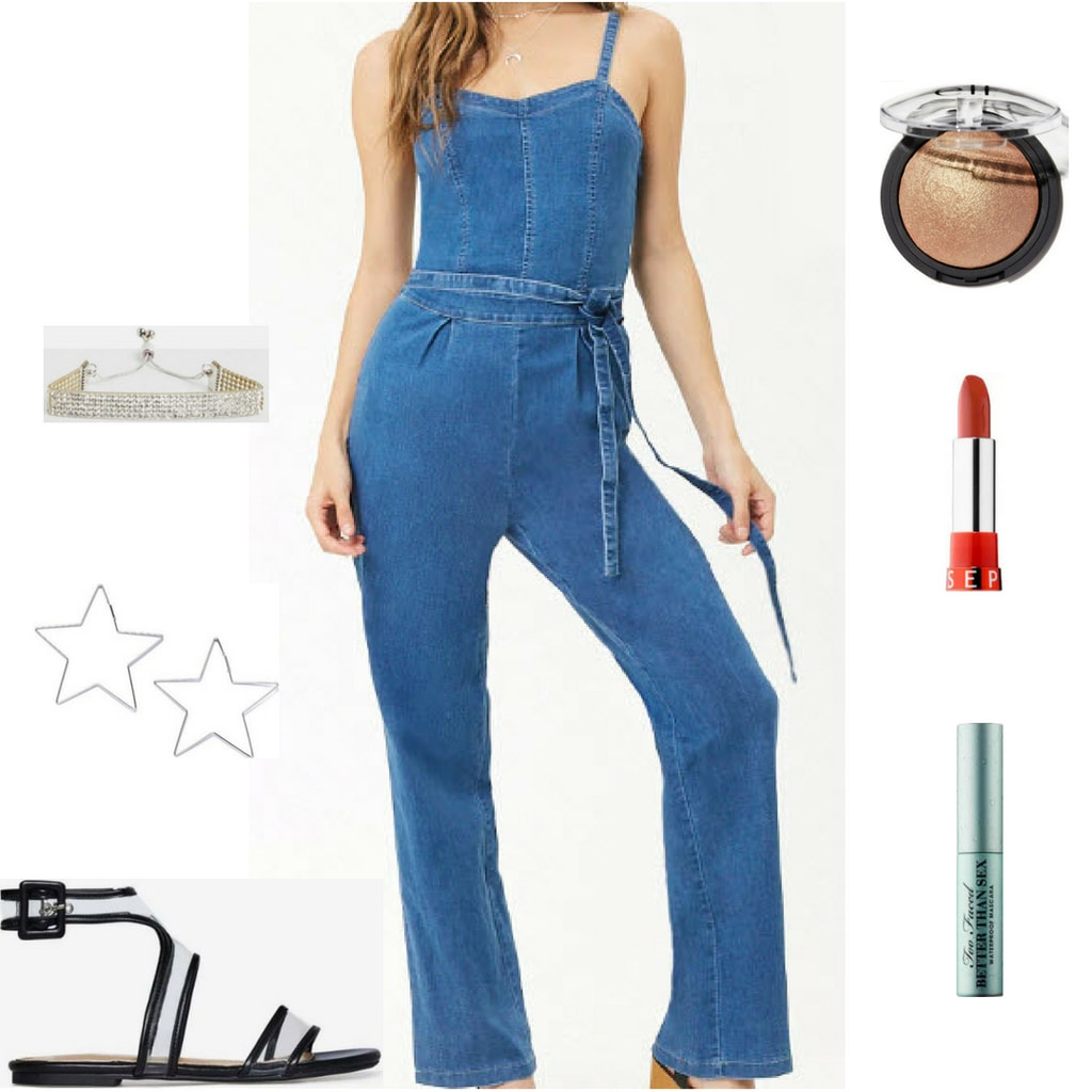 Denim jumpsuit style with silver bracelet, star hoop earrings, black and clear sandals, sephora lipstick, gold highlight, and black mascara.