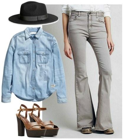 Denim on denim flared jeans
