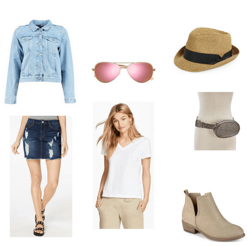 Outfit with light wash denim jacket, dark wash denim skirt, pink tinted aviator sunglasses, straw fedora, studded fanny pack, white tee, and ankle boots