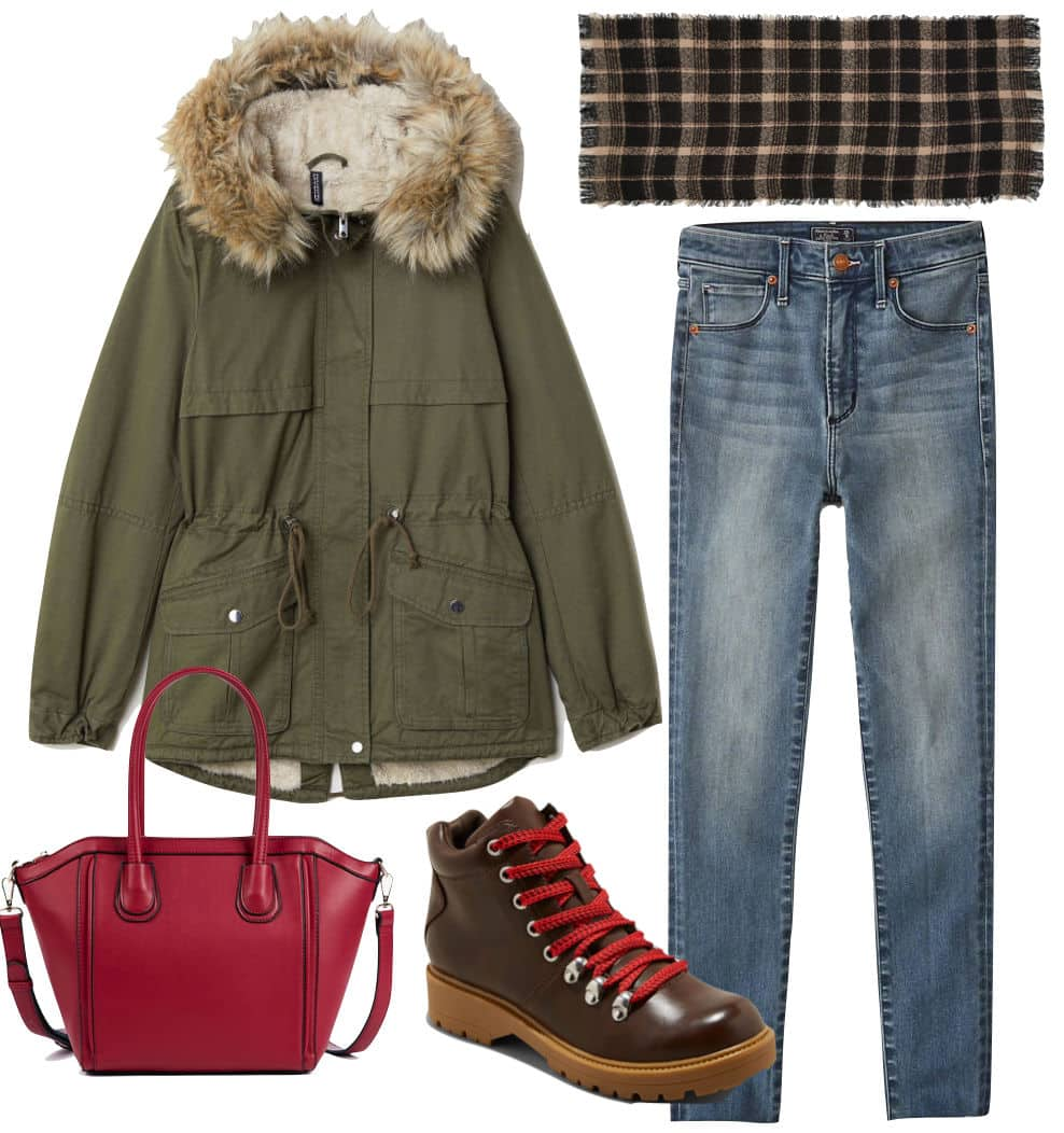 Denim outfit with parka, jeans, boots, red bag