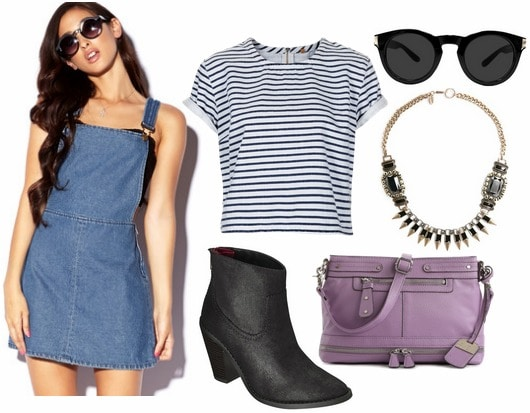 Denim pinafore dress, ankle booties, crossbody bag