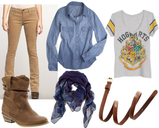 denim shirt class look with tan skinny cords brown boots blue printed scarf hogwarts graphic tee and brown belt