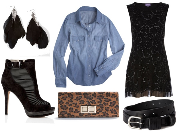 denim shirt night out look with sparkly lbd black stilettos black belt black feather earrings and leopard clutch